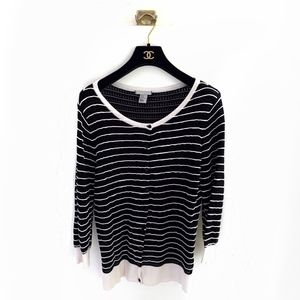 H&M Knit Cardigan with Stripe Piping